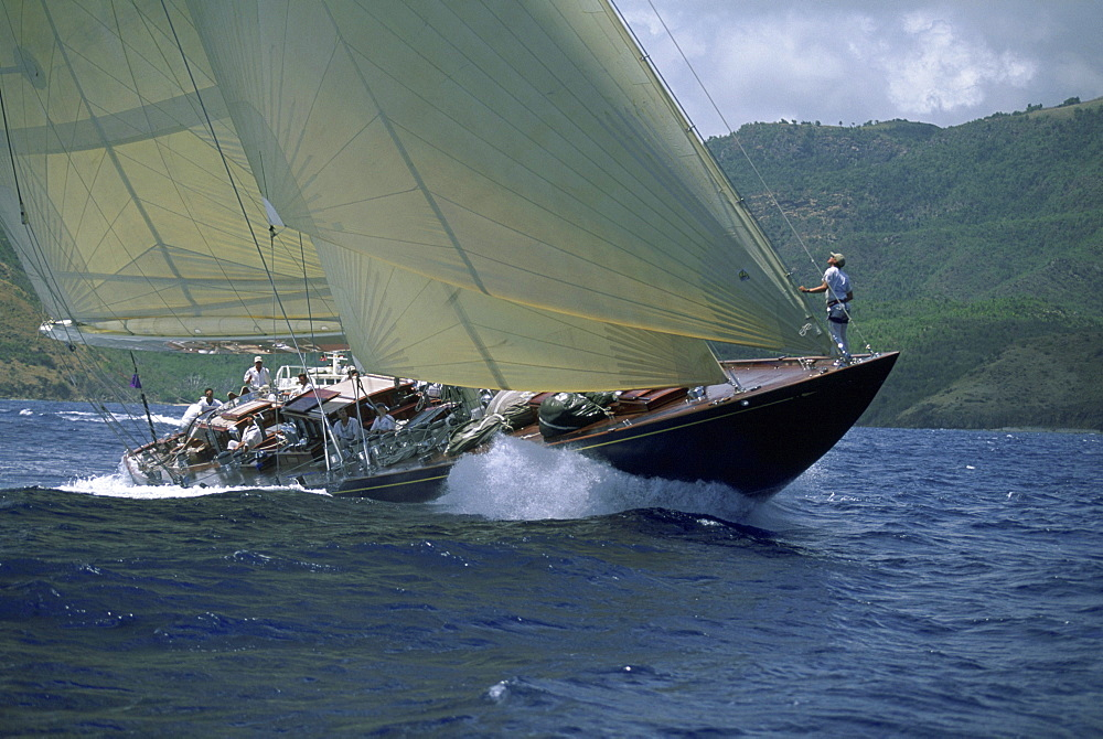 The 130' J-Class yacht, 'Valsheda', races to windward, sailing in the Antigua Classic Yacht Regatta, British West Indies.