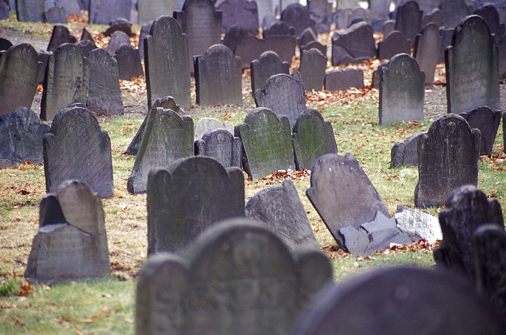 Headstones in the Granary Burying Ground near the Boston Common, established in 1660.