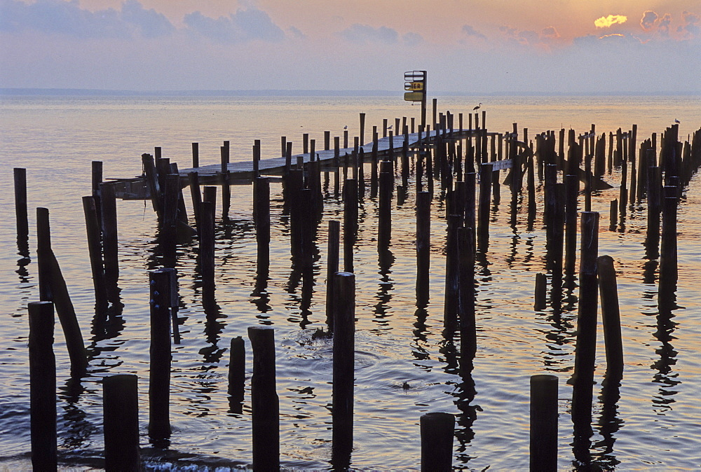 A pier that was destroyed in Colonial Beach, VA in Hurricane Isobel on Sept.  16, 2003. On the pier was an off shore riverboat gambling operation.