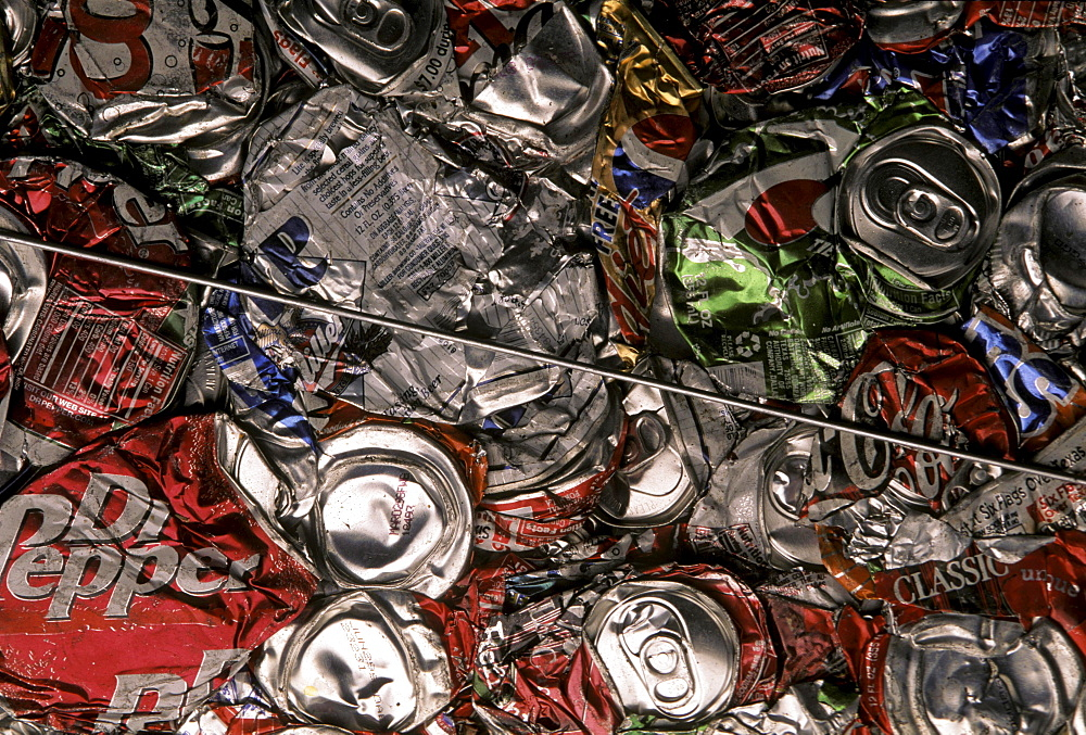 Recycling aluminum cans.