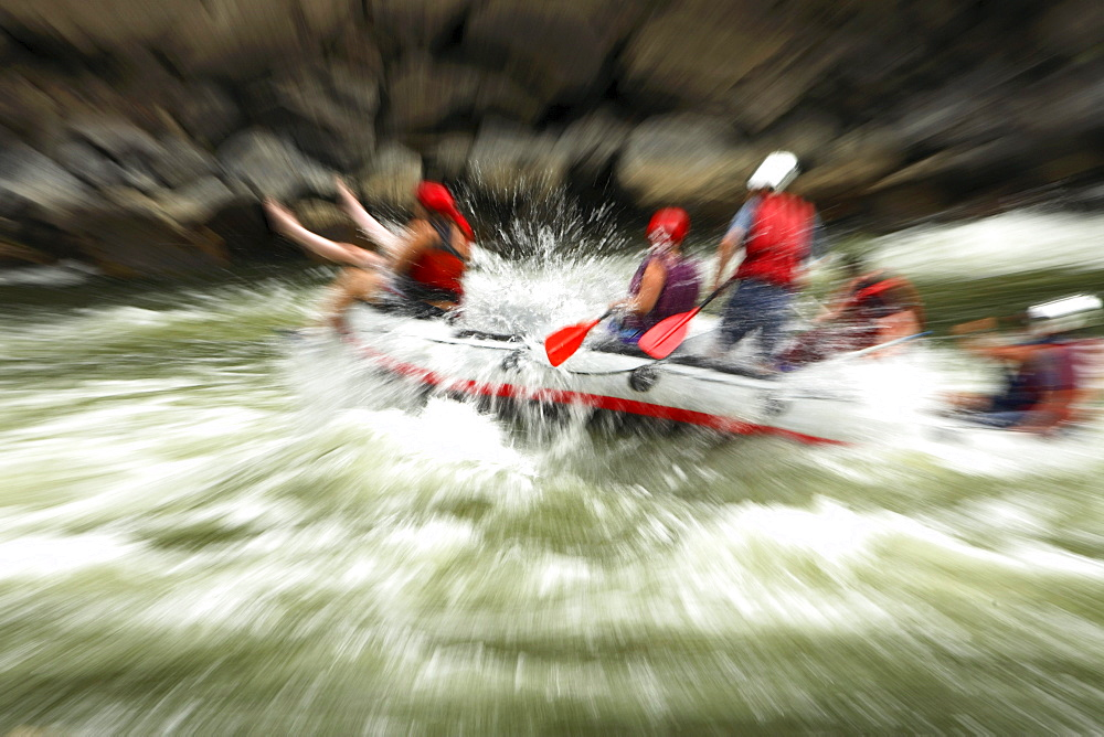 Whitewater rafters on the New River near Fayetteville, WV. (blurred motion)