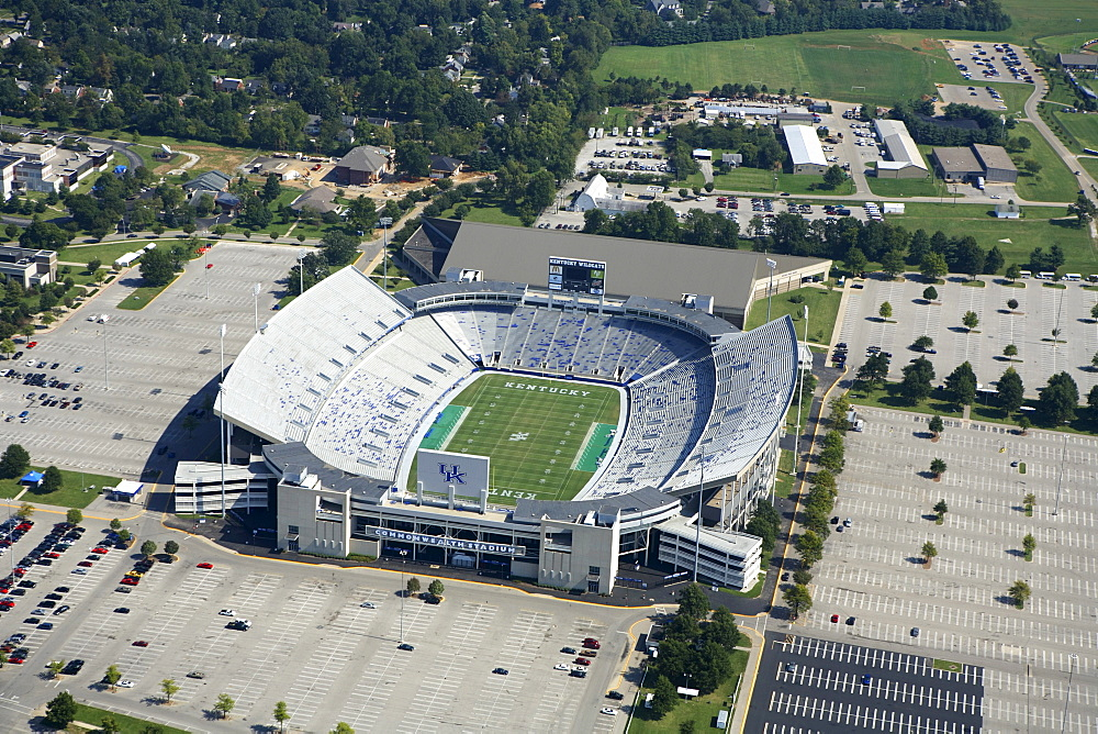 Aerial view of Commonwealth Stadium on the University of Kentucky campus in Lexington, KY.