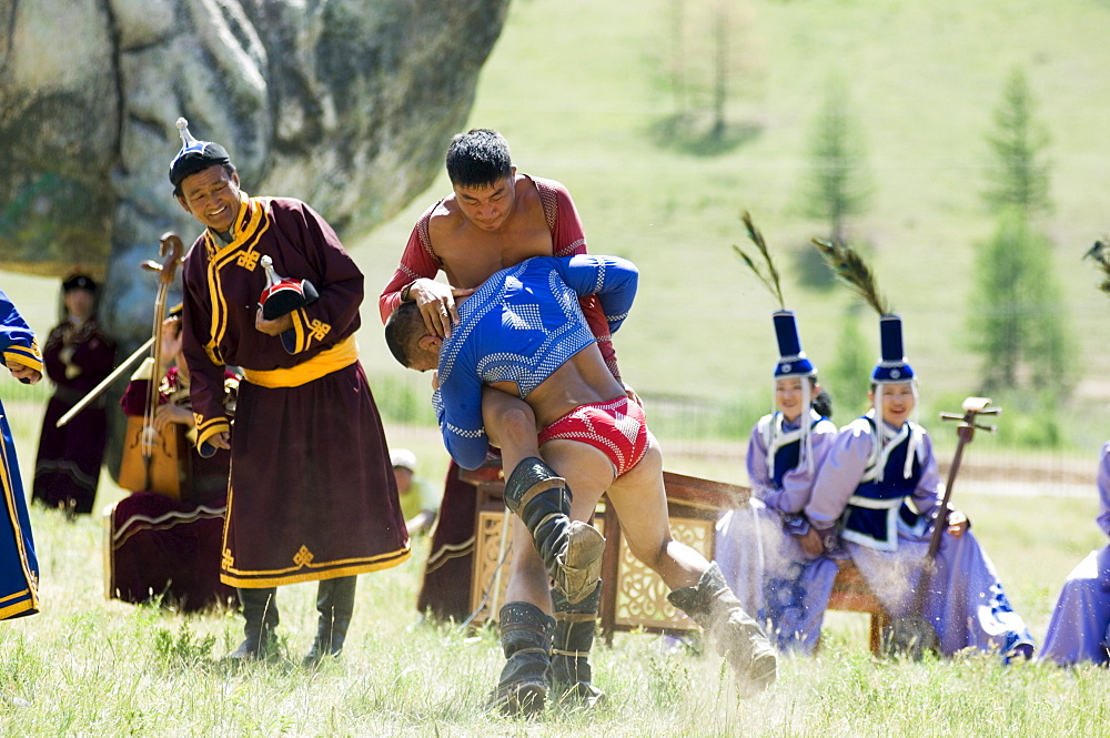 Wrestling match, Terelj National Park, Mongolia