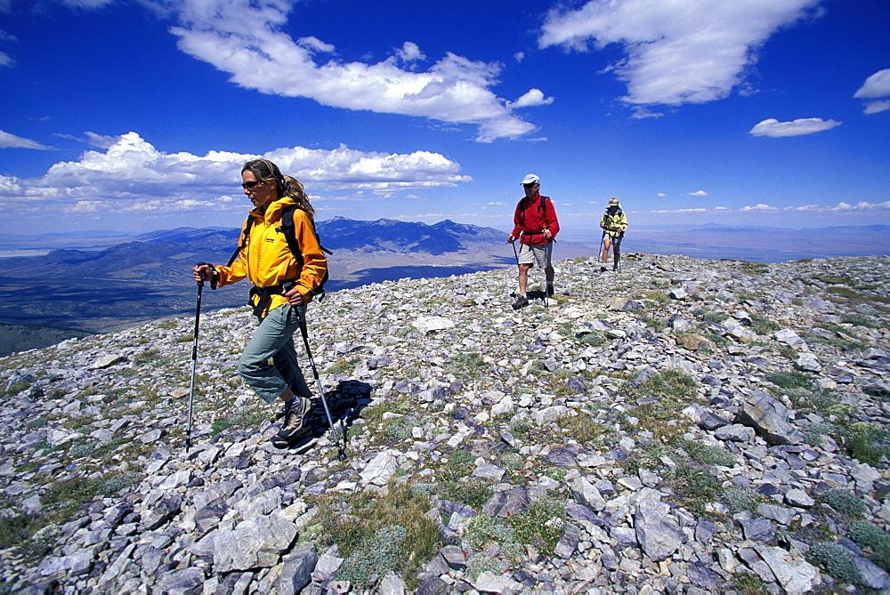 Three people hiking along a ridge in Great Basin NP in Nevada.