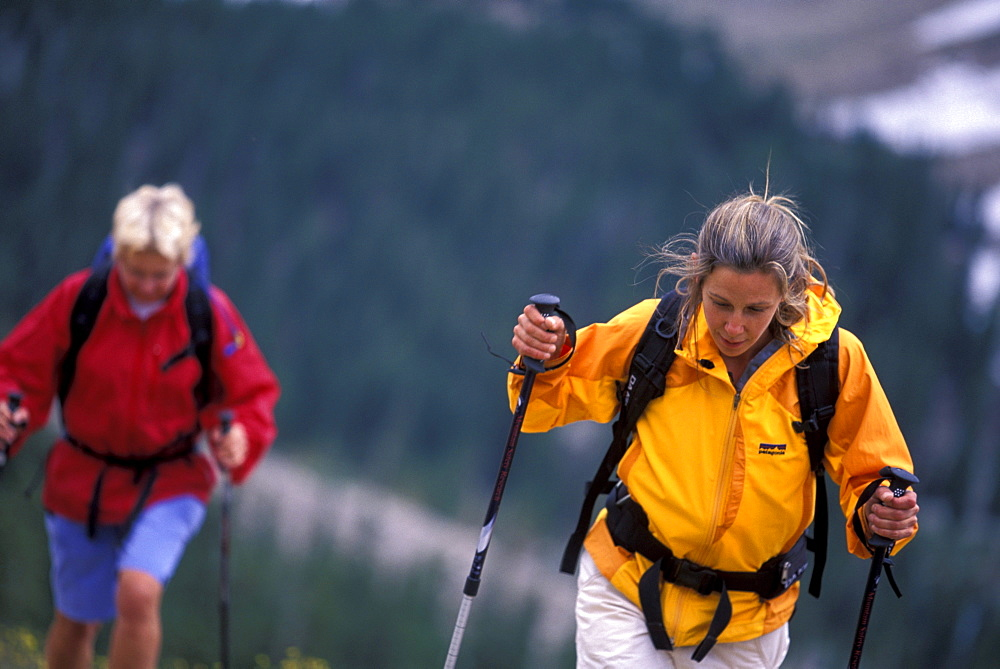 Two women hiking up a mountain in Great Basin NP, Nevada (High Angle Perspective).