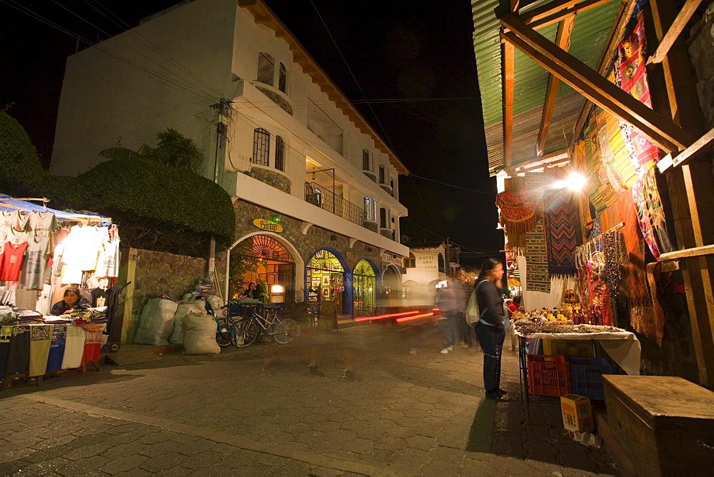 Open air market at night in the streets of Panajachel, Gautemala
