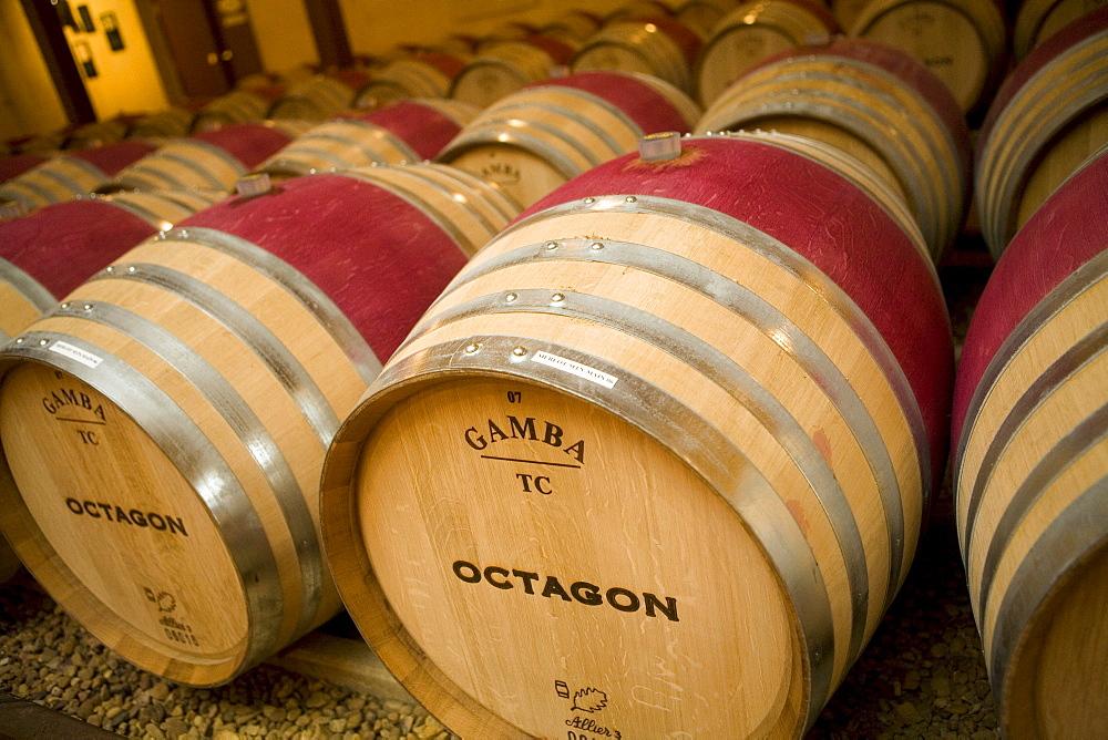 Wine barrels in Barboursville, VA.
