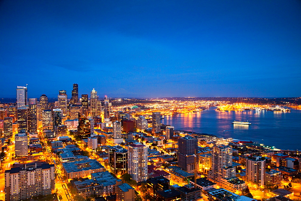 SEATTLE, WASHINGTON, USA. A view of downtown Seattle from the Space Needle at night.