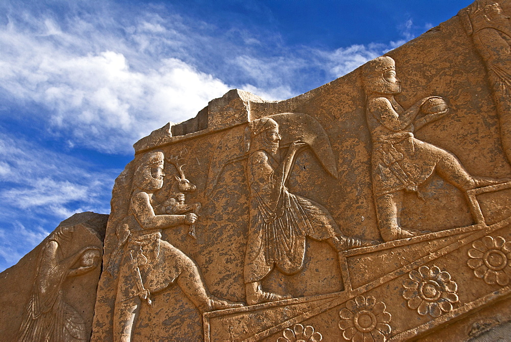 Carvings of Persian servants, Persepolis, Shiraz. Iran