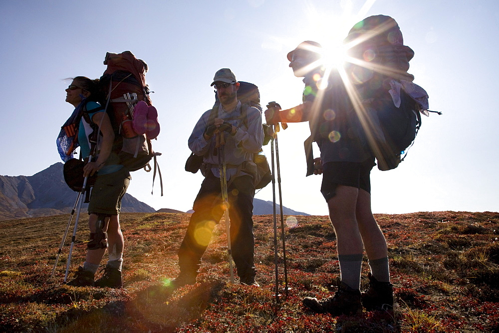 A group of backpackers takes in the view as the sun flares through during an expedition to Alaska's Arctic National Wildlife Ref