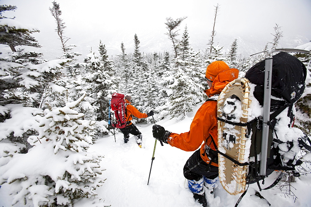 Two men hiking through the snow on Mt. Washington.