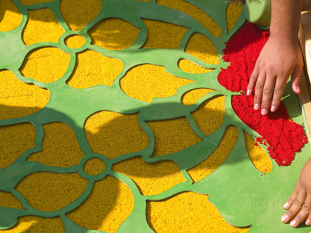 Residents of the city make alfombras, or carpets, in the city of Antiqua, Guatemala. - 857-52150