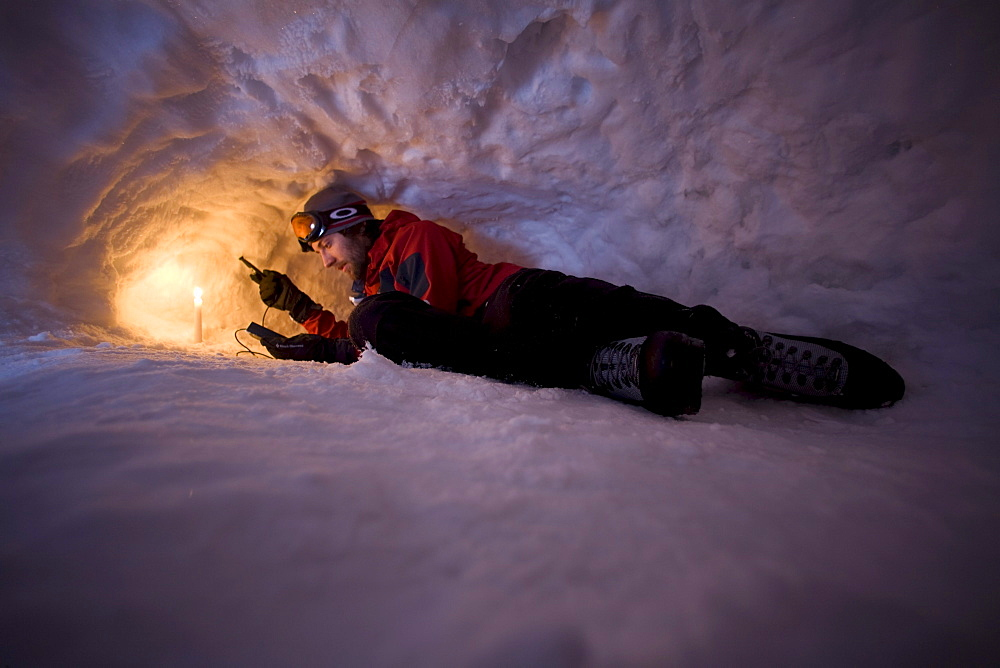 Scientific research in winter on Mt. Washington in the White Mountains of New Hampshire.