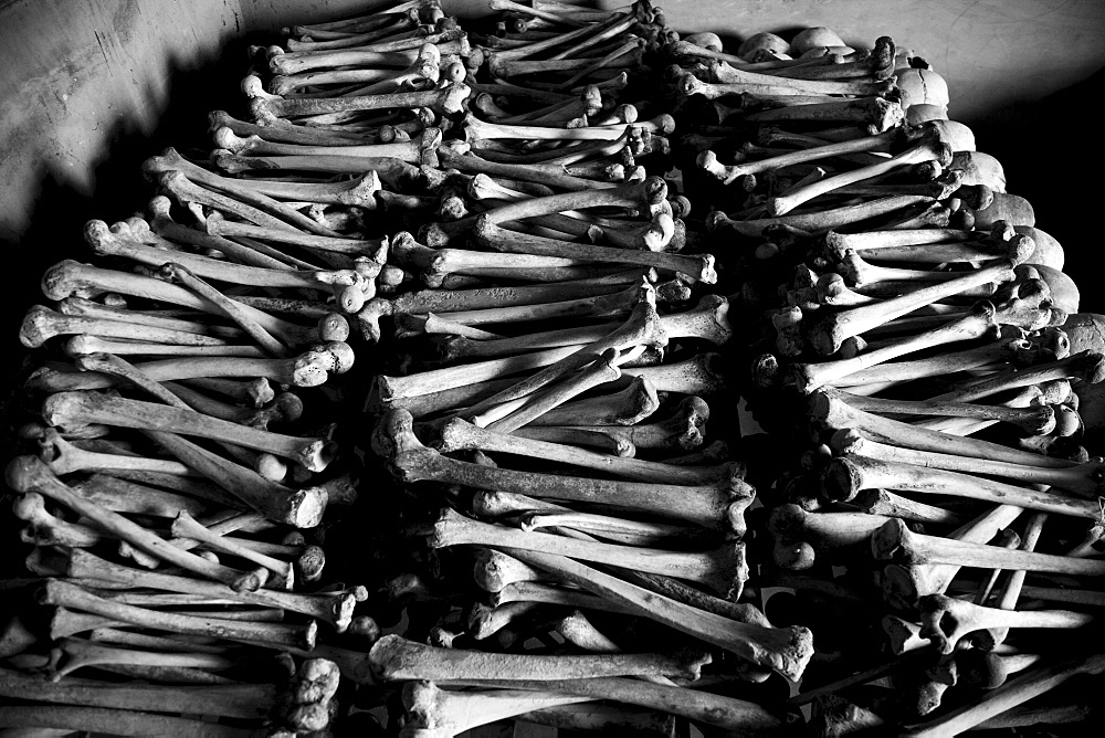 Leg bones on display at the Murambi Genocide Memorial in Rwanda.
