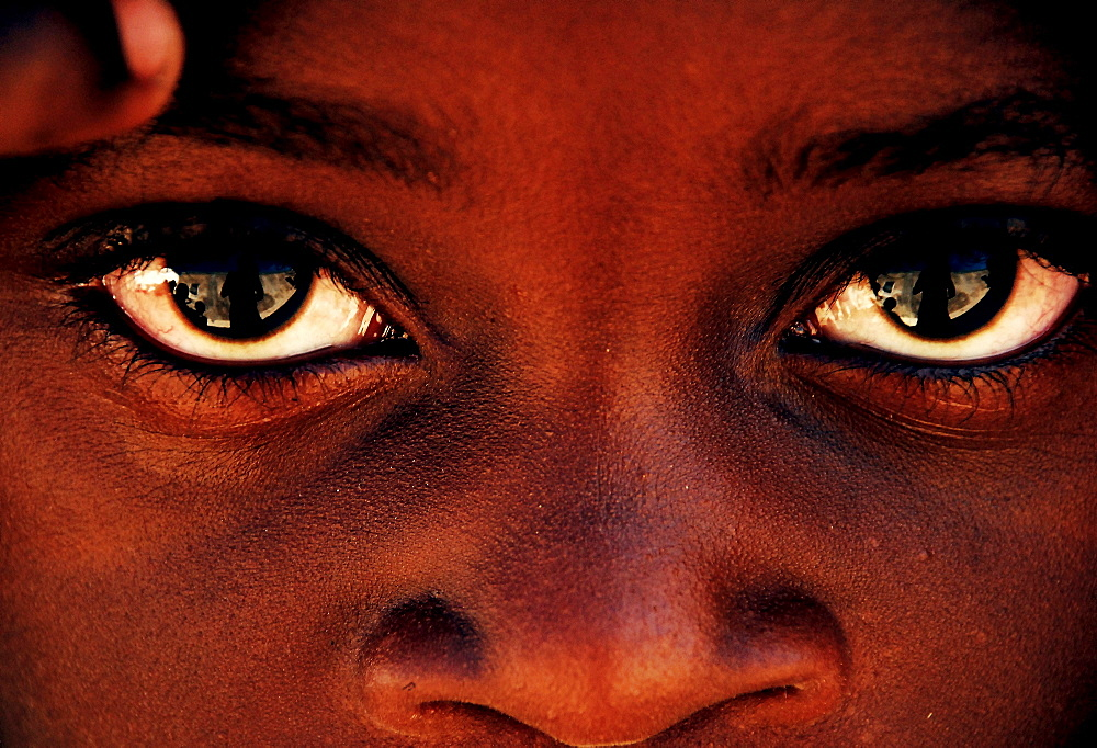 Portrait of an African student in Mozambique Island.