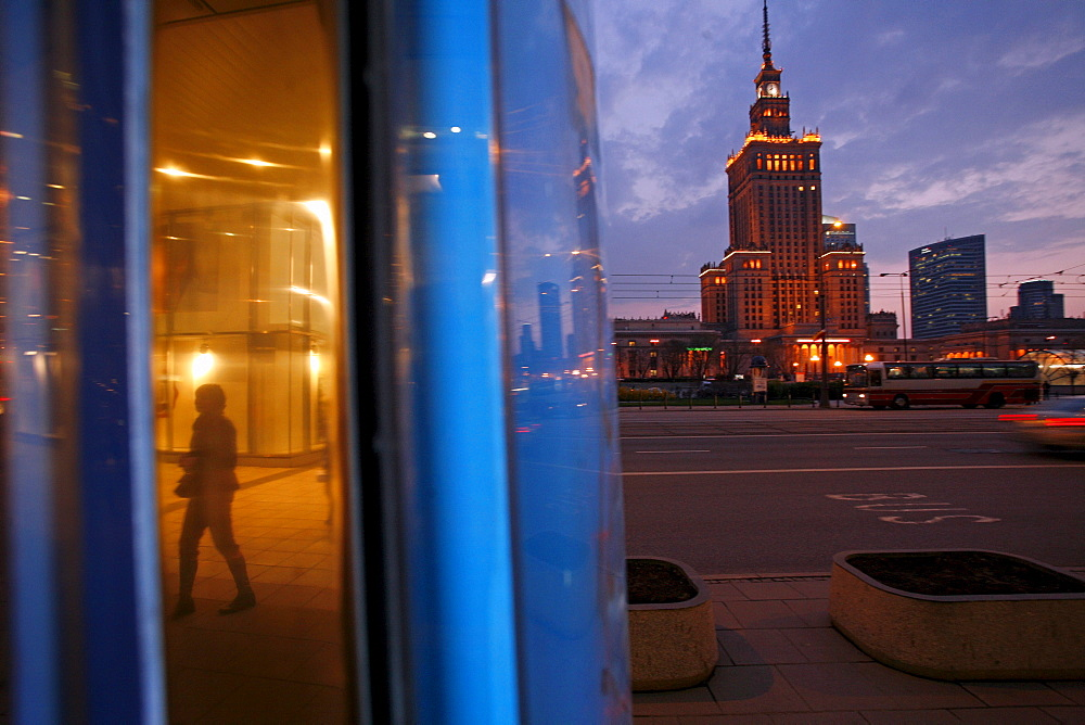 The center of Warsaw, Poland, with the prominent Palace of Culture and Science