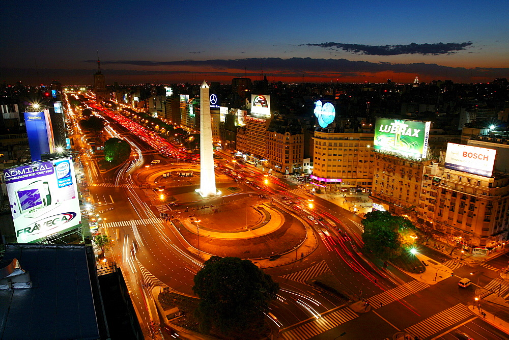 Avenue 9 on a July Night in Buenos Aires, Argentina. - 857-58818