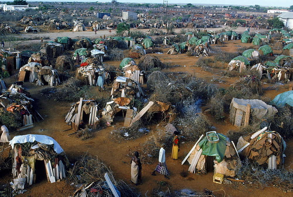 Camp for starving displaced people in Baidoa, Somalia.