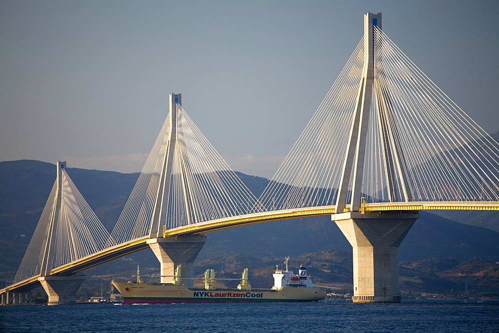 A view of the Rio-Antirio Bridge, the world's longest cable-stayed suspended deck bridge, from atop a ferry crossing the Gulf of Corinth near Patras, Greece on October 16, 2007.