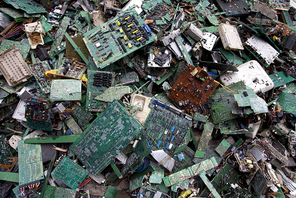 Circuit boards for recycling in Taizhou Taigang Metal Co. Ltd., Fengjiang Disassembling Industrial Park, Luqiao District, Taizhou City, Zhejiang Province, China.