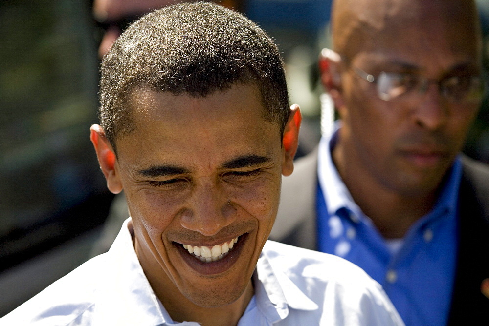 Presidential candidate Barack Obama smiles while greeting members of the crowd following the largest political rally of the Democratic front runner's campaign to date at Waterfront Park in Portland, Oregon on May 18, 2008.  City of Portland officials estimated the crowd at 72,000 people.  It was the largest political rally in Oregon history.
