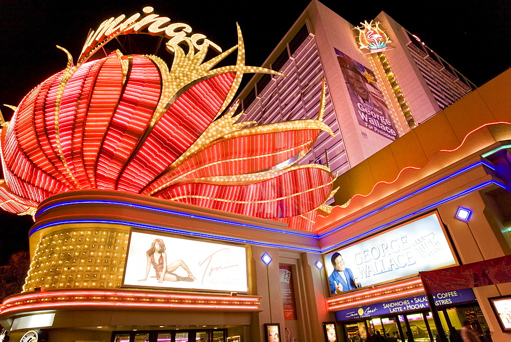 Detail of the front of the Flamingo Hotel and Casino along Las Vegas Boulevard, or the Strip, in Las Vegas, Nevada.