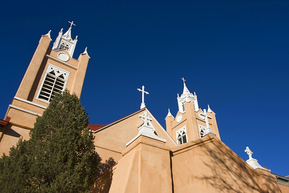 Detail of the adobe San Felipe de Neri Church in Old Town in Albuquerque, New Mexico