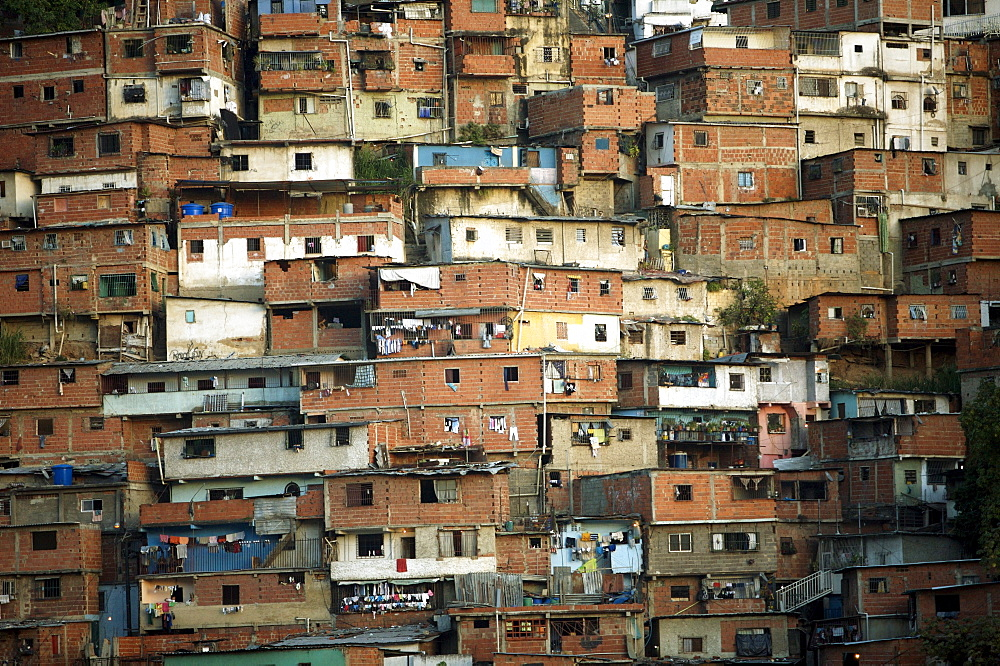Cinder block homes cover the mountainside in Petare, Latin America's largest shanty town, in Caracas, Venezuela, July 23, 2008.