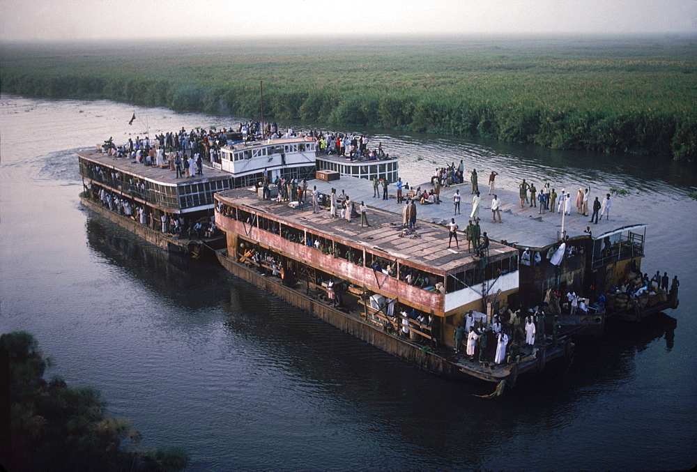 Aerial of the steamer taking people on the Nile, Sudan.