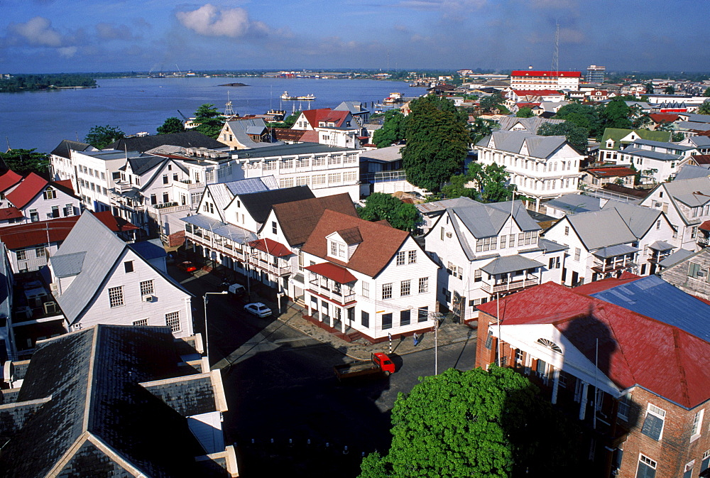 Dutch Colonial buildings in Paramaribo, the capital of Suriname.