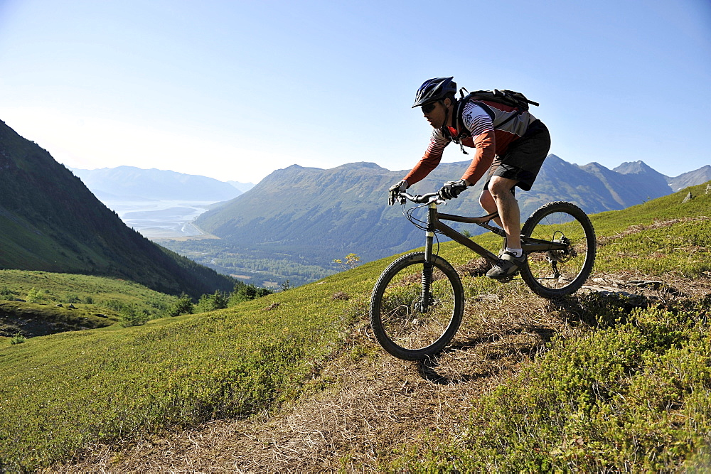 Riders enjoy a day of tram serviced mountain biking at Alyeska Resort in Girdwood, Alaska September 2010.