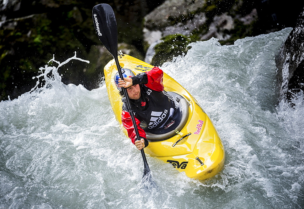 Red Bull sponsored kayaker Aniol Serrasolses (ESP) riding the Ötztaler Ache-River during the Adidas Sickline Extreme Kayaking World Championship 2014 in Oetz, Austria.
