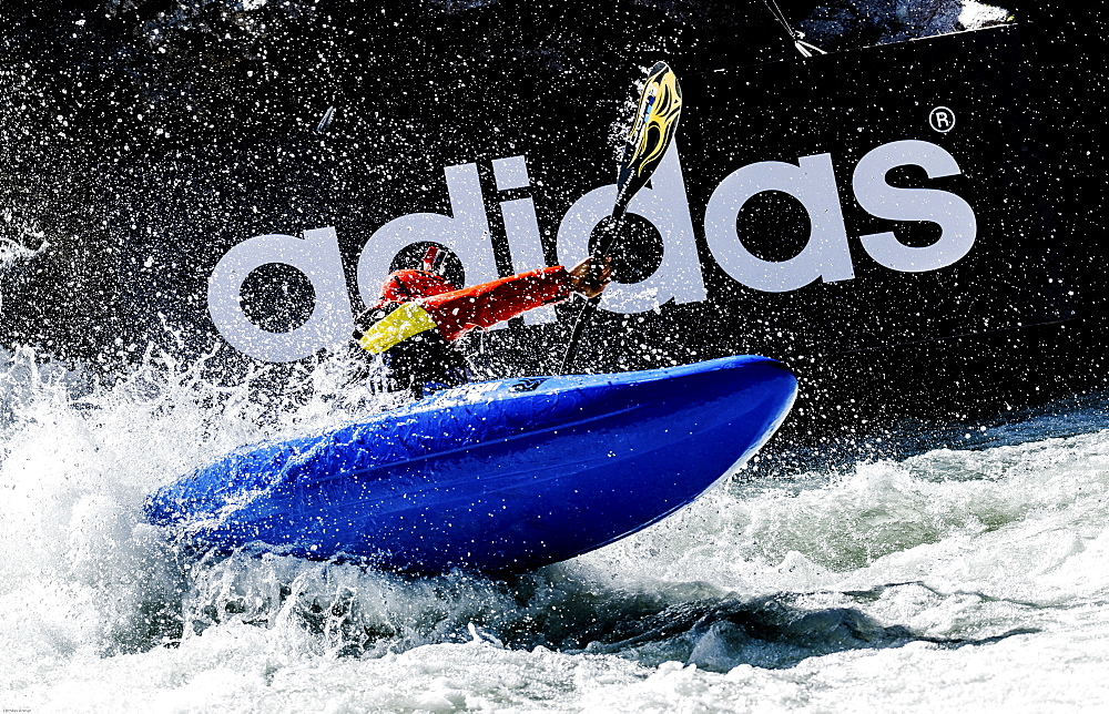 Kayaker Eric Jackson (USA) riding the Ötztaler Ache-River during the Adidas Sickline Extreme Kayaking World Championship 2014 in Oetz, Austria.