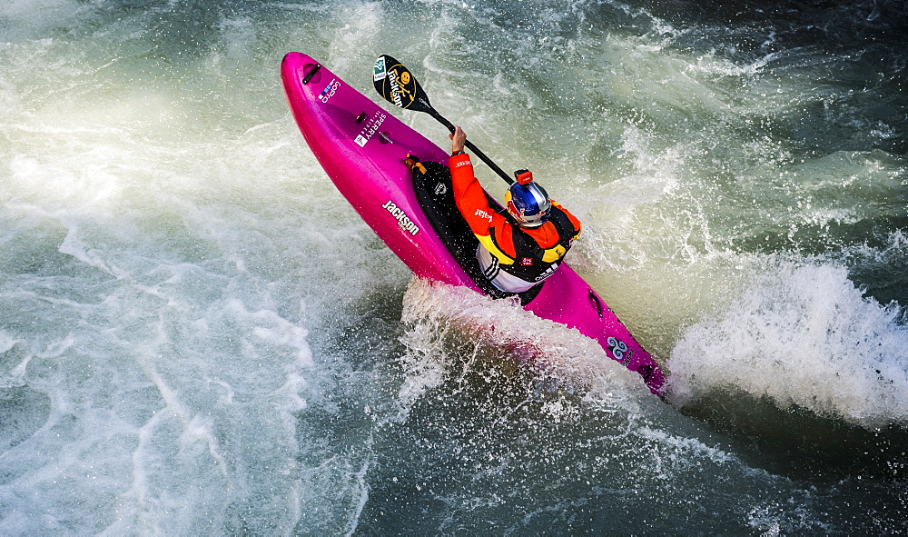 Red Bull sponsored kayaker Dane Jackson (USA) dropping into the Ötztaler Ache-River during the Adidas Sickline Extreme Kayaking World Championship 2014 in Oetz, Austria.