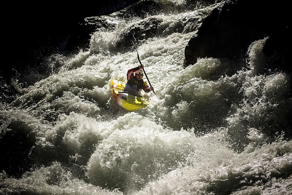 Kayaker Gerd Serrasolses (ESP) riding the Ötztaler Ache-River during the Adidas Sickline Extreme Kayaking World Championship 2014 in Oetz, Austria.