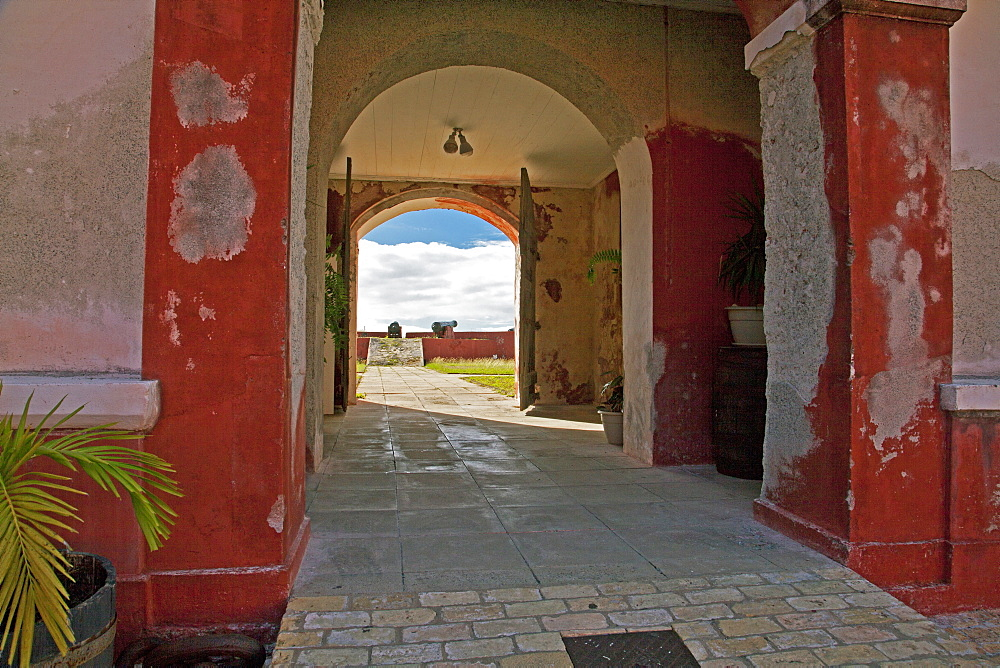 Exterior and courtyard views of Fort Frederik, now a tourist draw in Frederiksted, St, Croix. Built between 1752 and 1760 and now a historical museum, Fort Frederik was named the then reigning Danish monarch.