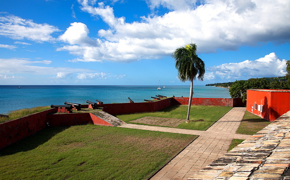 Exterior and seafront courtyard views of Fort Frederik, now a tourist draw in Frederiksted, St, Croix. Built between 1752 and 1760 and now a historical museum, Fort Frederik was named the then reigning Danish monarch.
