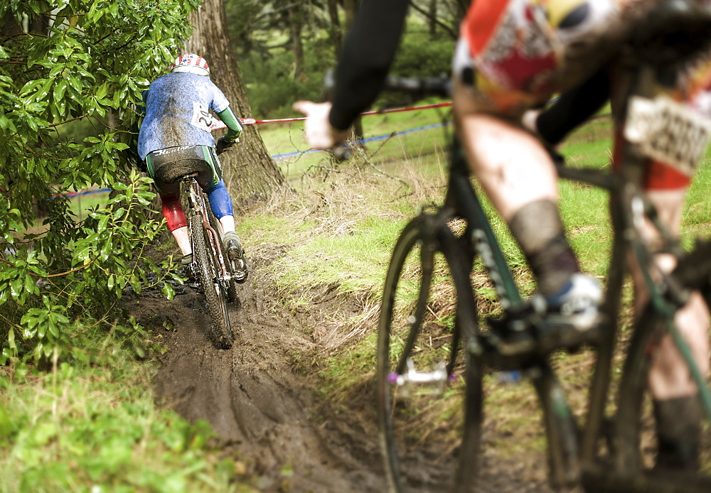 cyclocross riders brave the weather and course in San Francisco, California