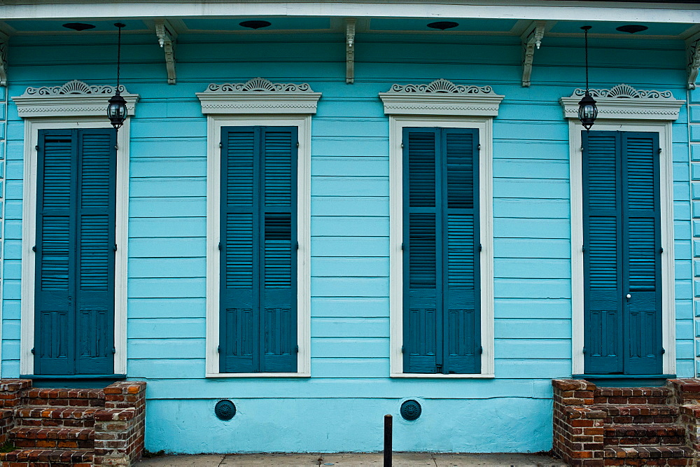 A colorful house in the French Quarter of New Orleans, Louisiana.