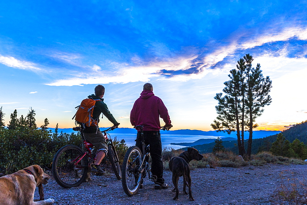 Two men Mountain Biking around Lake Tahoe, CA