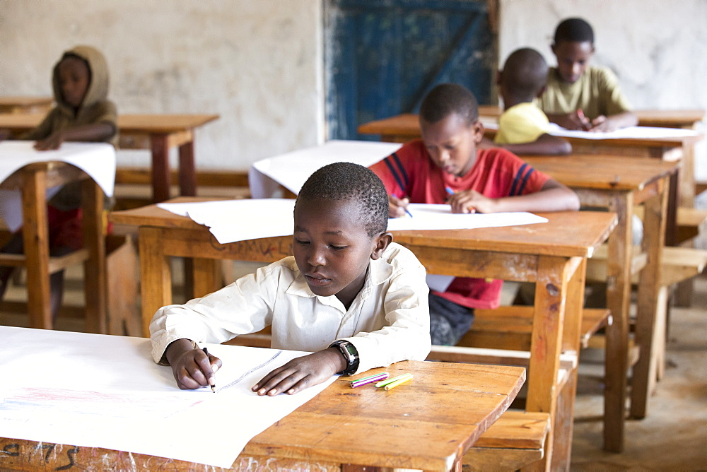 Students work on a project at the Kiziba Refugee Camp in Kibuye, Rwanda.
