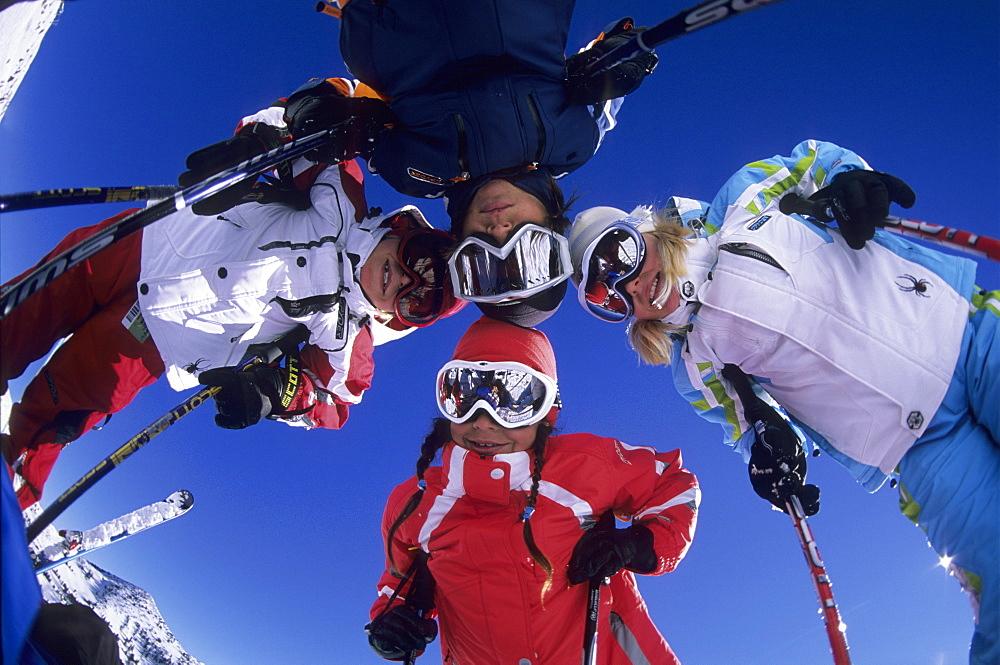 Skiers having fun in the snow at Snowbird, Utah, United States of America