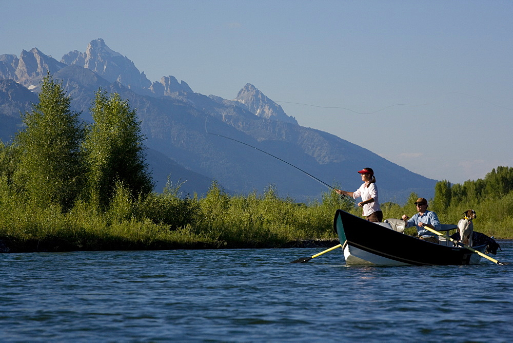 A couple and their dog fly fish the Snake River from a drift boat near Jackson, Wyoming with the high mountains of Grand Teton National Park in the distance. USA, United States of America
