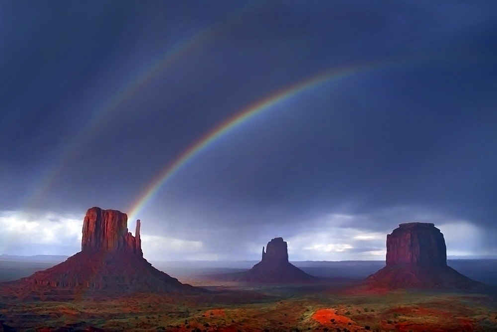 A double rainbow forms above The Mittens of monument valley. Photo by Thomas Kranzle, United States of America