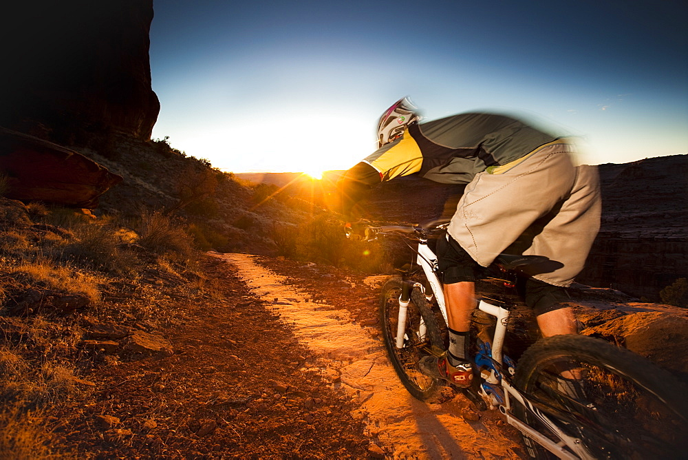 Kyle Mears mountain biking on the Porcupine Rim trail, Moab, Utah, United States of America