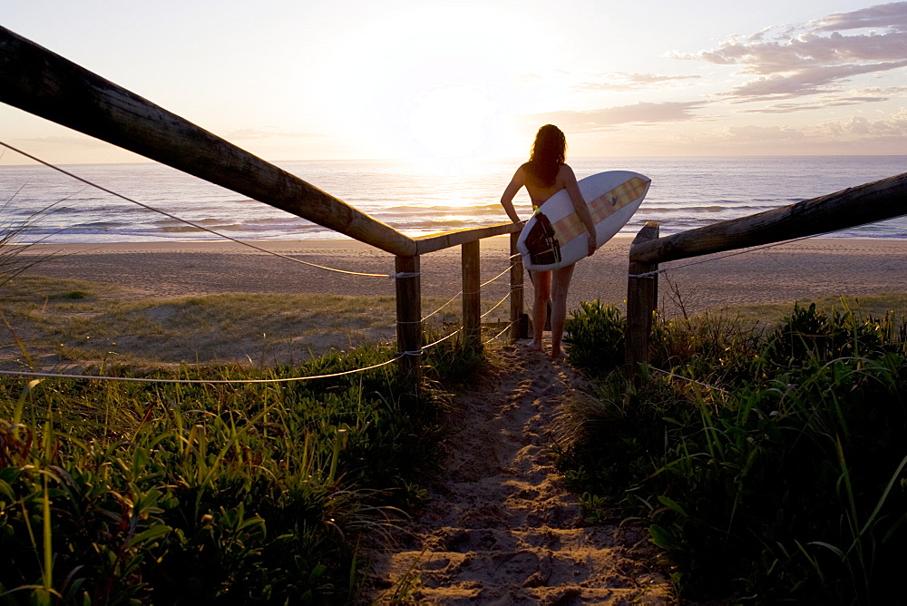 A young woman about to enter the water with a surfboard, soaks in the sunrise at Blueys Beach, Australia, Australia