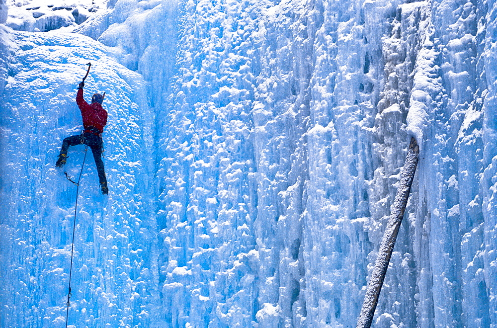 An unidentified lead ice climber tops out on frozen waterfall by a popular climbing area called Haffner Creek in Kootenay National Park, British Columbia on December 1, 2002 as its snows, Canada - 857-90997