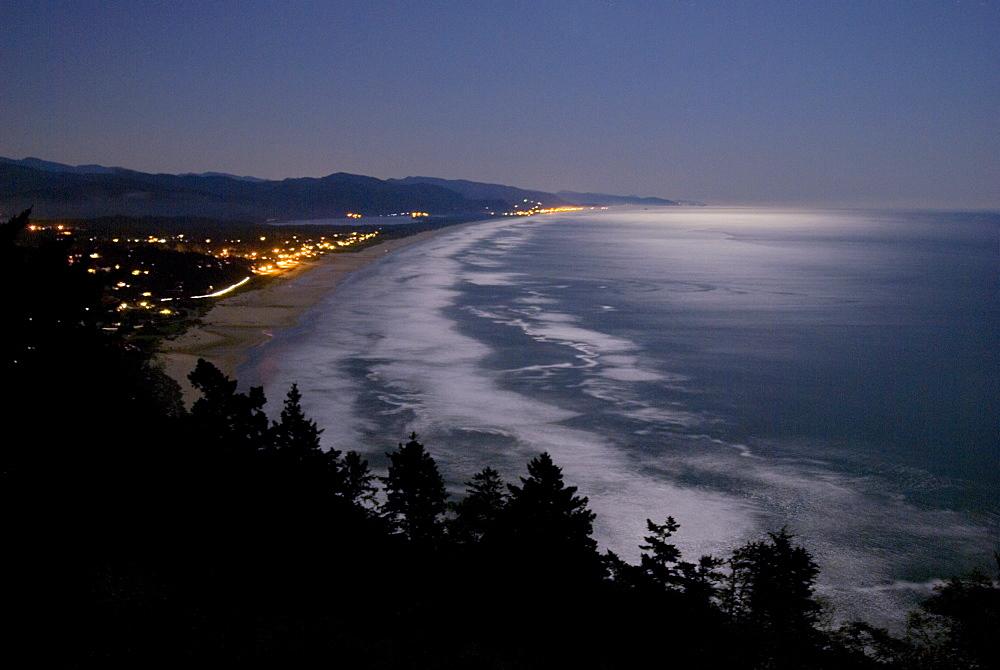 OCTOBER 11, 2008 Moonlight over the Oregon coast near Geribaldi, United States of America