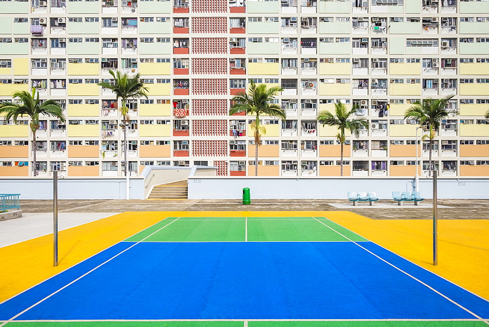 Empty tennis court at Choi Hung Estate, one of the oldest public housing estates in Hong Kong