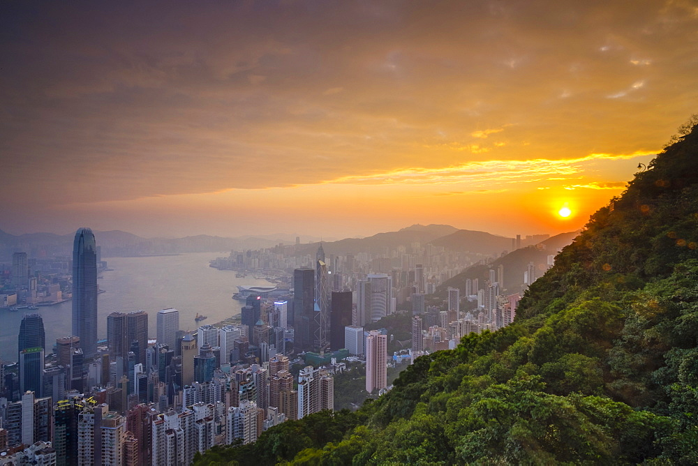 Skyscrapers in central Hong Kong seen from Victoria Peak at sunrise